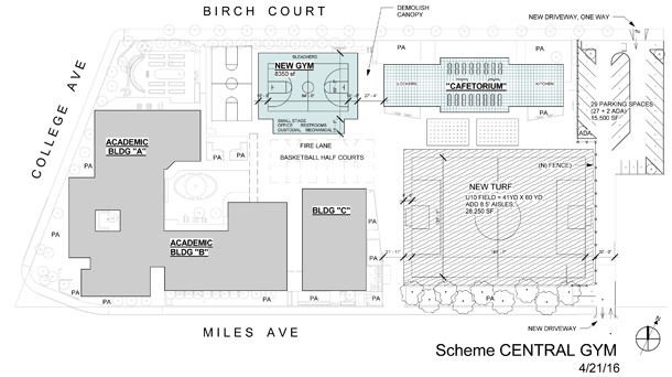 Proposed campus plan with central gym