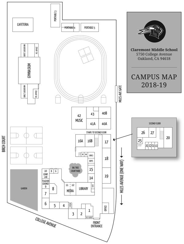 Claremont Colleges Campus Map.Campus Map Claremont Middle School Pta